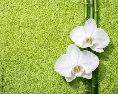 In de dag Spa Two orchids and branches of bamboo lying on light green terry towel. Viewed from above.