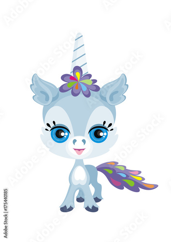 Children's colorful image of lovely fantastic animal in cartoon style. Vector illustration