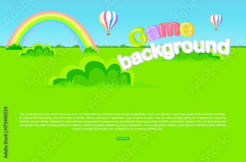 Plexiglas Lime groen Cartoon Meadow as Game Background Illustration