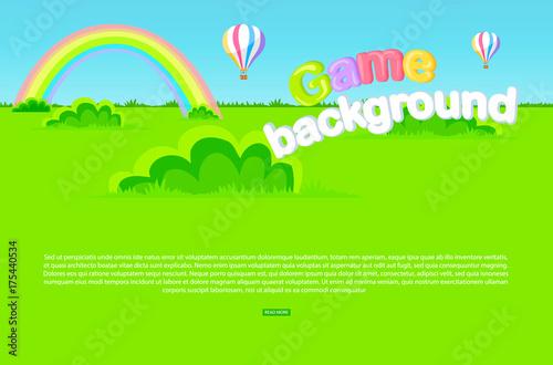 Papiers peints Vert chaux Cartoon Meadow as Game Background Illustration
