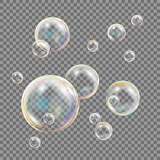 Transparent Soap Bubbles Vector. Colorful Falling Soap Bubbles. Isolated Illustration - 175444157
