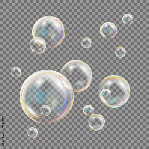 Transparent Soap Bubbles Vector. Colorful Falling Soap Bubbles. Isolated Illustration