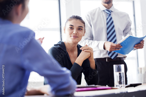 Fridge magnet Business people meeting working concept