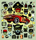 Set of icons and symbols with race car, hipsers, music symbols