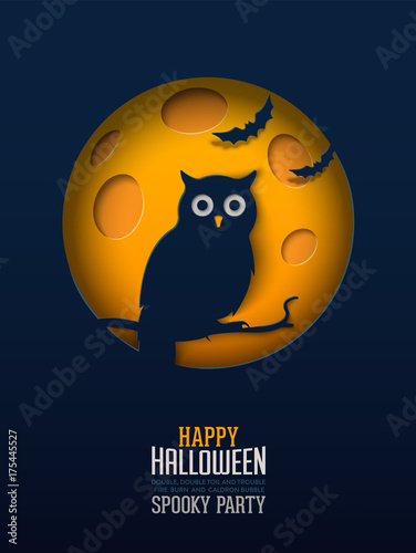 Foto op Aluminium Uilen cartoon Halloween Owl, Papercut Design Multilayered papers create spooky Halloween scene under the full moon.