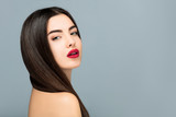 Hair and make up, Beuty portrait girl sensual red lips,copy space border,Hairdresser salon - 175446353