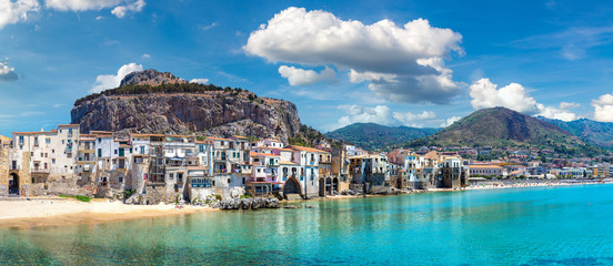 Sandy beach in Cefalu in Sicily
