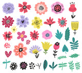 Flowers set vector floral collection