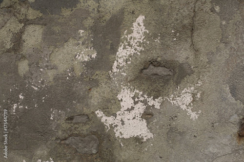 Staande foto Betonbehang Old weathered rough gray cracked plaster concrete wall texture