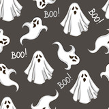 Halloween seamless pattern with ghost on black  background. Hand drawn  illustration. Vector design. - 175448346