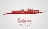 Bydgoszcz skyline in red