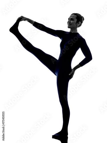Plakat woman exercising Hasta Padangusthasana hand to big toe pose yoga silhouette shadow white background