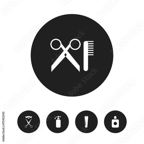 Set Of 5 Editable Hairdresser Icons. Includes Symbols Such As Aroma, Stylist, Tube And More. Can Be Used For Web, Mobile, UI And Infographic Design.