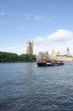River Thames with Boat and Parliament in Background - 175452941