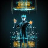 Virtual reality male user / 3D illustration of male figure in virtual gear working in cyberspace - 175453546