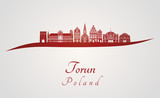 Torun skyline in red