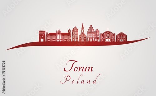 Fototapeta Torun skyline in red