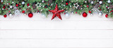 Fir Branches And Decoration On White Plank - Christmas Border - 175455517