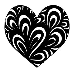 Hand drawn heart with ornament isolated. Vector illustration