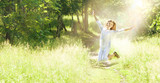 Happy Young Woman Enjoying Summer on the Green Meadow. - 175457734