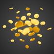 Falling coins, falling money, flying gold coins, golden rain. Jackpot or success concept. Modern background.