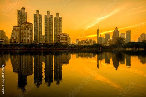 Bangkok cityscape view at park in morning. Poster