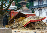 Aftermath of Nepal earthquake 2015, collapsed temple on Durbar Square in Kathmandu
