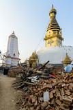 Aftermath of Nepal earthquake 2015, destruction at Swayambhunath in Kathmandu - 175463709