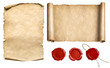 Leinwanddruck Bild - Vintage letter scroll or papyrus with wax seal stamps set isolated 3d illustration