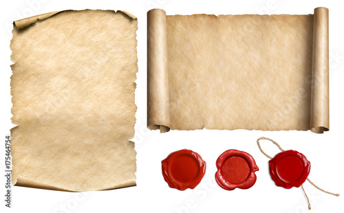 Leinwanddruck Bild Vintage letter scroll or papyrus with wax seal stamps set isolated 3d illustration