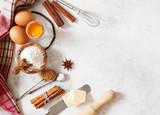 Baking ingredients flour, butter, sugar, salt, eggs - 175466911