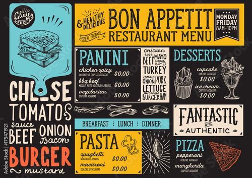 Food menu restaurant template. - 175471921