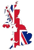 Map of UK with flag - 175474192