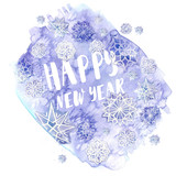 watercolor painting of watercolor blurred colors of lilac flowers in the form of ice with snowflakes for the new year and Christmas with the inscription