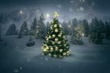 Fototapety Weihnachtsbaum in Winterlandschaft