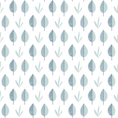 Abstract vector leaf pattern. Scandinavian seamless background
