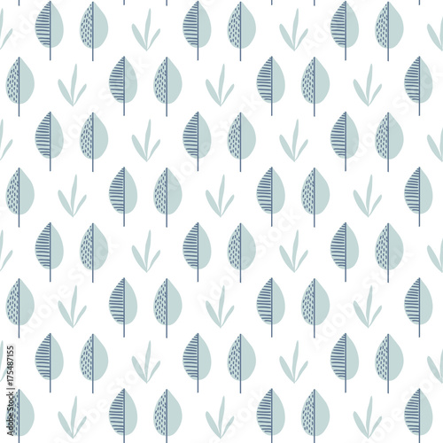 Abstract vector leaf pattern. Scandinavian seamless background - 175487155