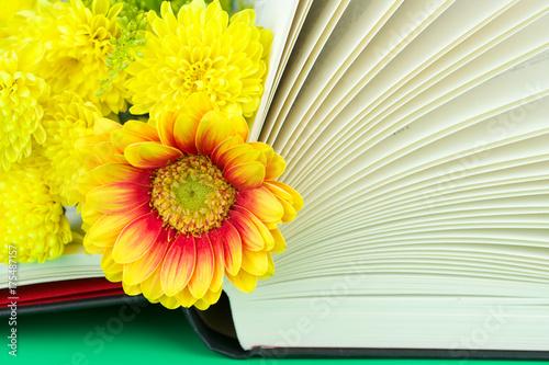 Aluminium Gerbera Flowers on the book