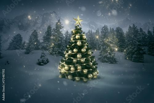 Fototapeta Weihnachtsbaum in Winterlandschaft