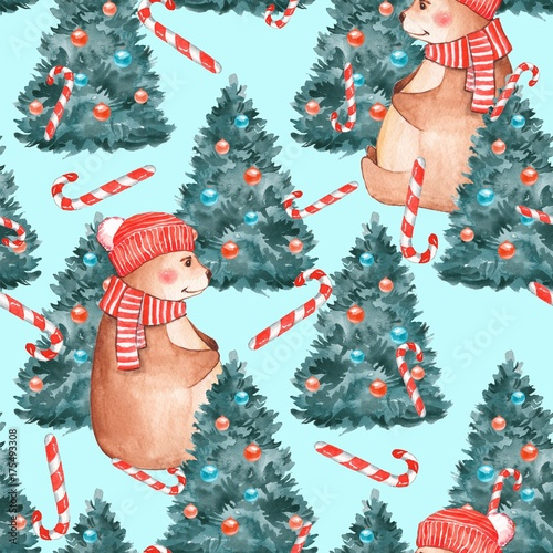 Cotton fabric Christmas pattern. Watercolor seamless pattern with Teddy bear and fir tree