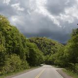 Empty road amidst trees in forest, Cabot Trail, Cape Breton Highlands National Park, Cape Breton Island, Nova Scotia, Canada - 175493906