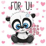 Valentine card Cute Cartoon Panda with flowers