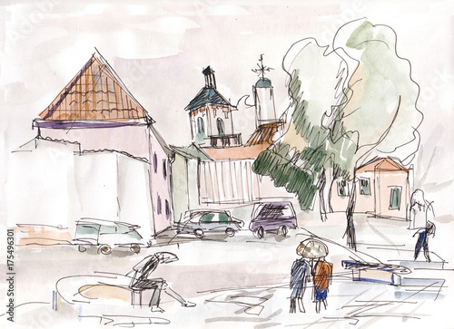Poster Wit Streets of Vilnius