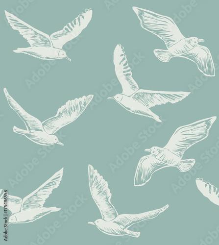 Materiał do szycia Wzór z Seagulls. Graficzny ręcznie rysowane tła dla banerów internetowych stron złom rezerwacji tapeta. Ilustracja wektorowa z ptaków latających