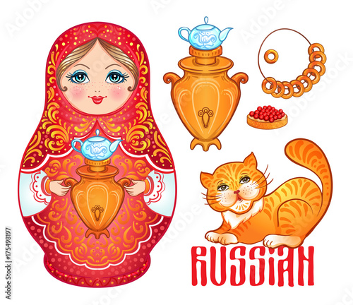 Retro Souvenir from Russia: babushka (matryoshka), red cat, samovar, bublik (bread roll). Traditional Russian wooden nesting doll. Folk arts and crafts. Vector illustration. © vgorbash