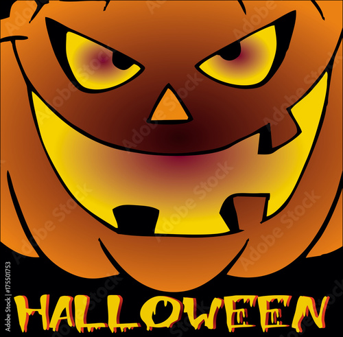 cartoon halloween pumpkin silhouette with evil smile for black background