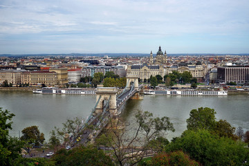 Blick auf die Kettenbrücke in Budapest