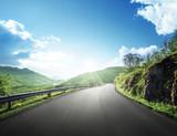 summer road in mountain, Lofoten islands, Norway - 175504302
