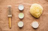 hair brush, cream, sponge, soap bar and bath towel - 175507152