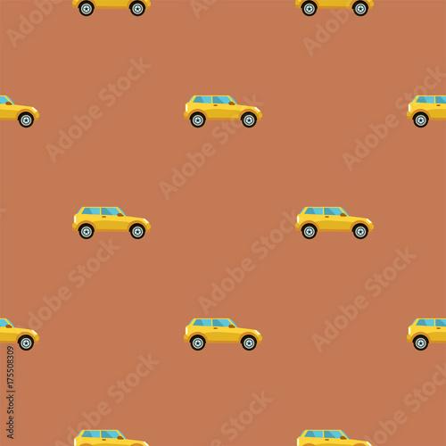 Fotobehang Auto Amazing seamless vintage car pattern.